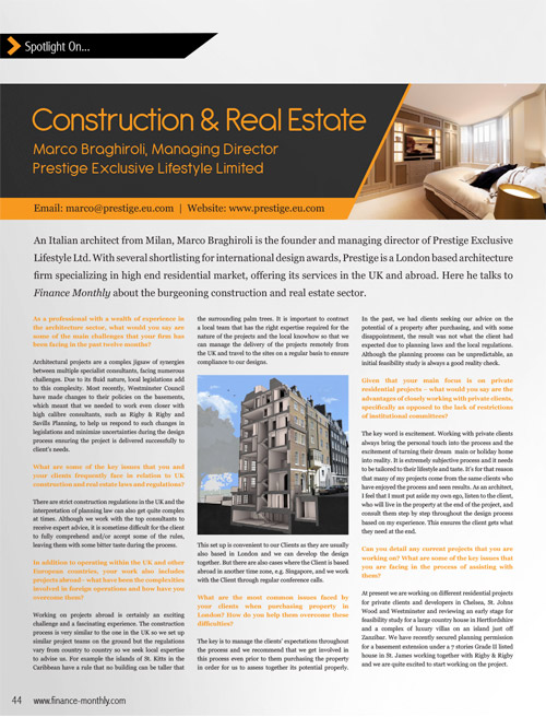 Construction and real estate article